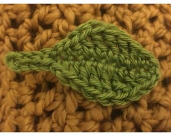 Handmade green crochet leaf brooch
