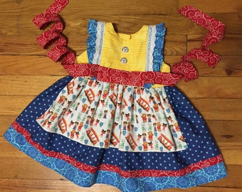 Daniel Tiger dress, custom dress, boutique dress, apron dress, birthday dress, girls dress