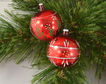 Vintage Set Of 2 Hand Blown Hand Painted Red Globe Christmas Ornaments
