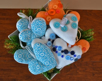 Bulk Order Of Handmade Felt Heart Ornaments with Button Embellishments (Set 2)