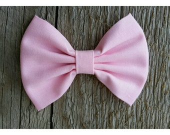 Light Baby Pink Fabric Hairbow choose alligator clip, elastic or nylon headband. Kate's Bows