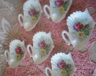 Retro Vintage Swan & Rose Tea Bag Holders /Spoon Rest ~  Set of Six