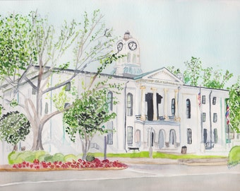 Original watercolor, Oxford courthouse, original art, Oxford MS, wall art, wall decor, original painting,