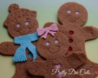 Felt Gingerbread Family, Christmas Decoration Packs, Ginger Bread Men, Christmas Shapes, Pretty Die Cut Christmas Craft Embellishments