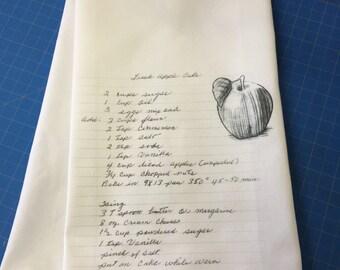 Custom dish towel with family recipe