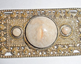 Cool vintage textured goldtone rectangle brooch with tan art glass insets