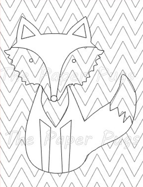 Items similar to Chevron Fox coloring page instant