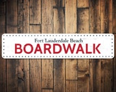 Boardwalk Dotted Sign, Personalized Beach House Sign, Custom Beach Location Sign, Metal Beach House Decor - Quality Aluminum ENS1001351