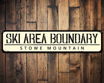 Ski Area Boundary Sign, Personalized Skiing Location Sign, Ski Lodge Sign, Custom Metal Ski Lodge Decor  - Quality Aluminum ENS1001547