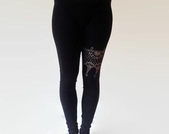 Yoga pants. Flower detail leggings. Hand painted fabric.