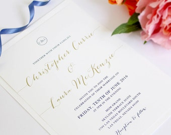 Navy, White and Gold Monogram Wedding Invitations, Professionally Printed or Printable Digital File, DIY, Classic Glam, Peach Perfect