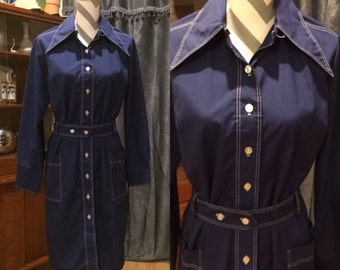 Vintage 1960's Mod Mad Men Poly Cotton Blend Navy Blue Belted Dress