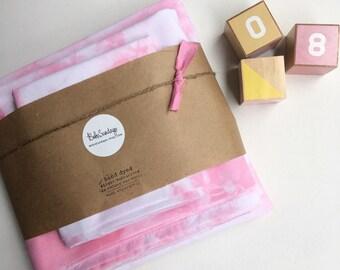 Pink/White Scrunch Cot Sheet Set, Shibori, Tie Dye