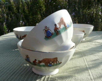Pair of French Vintage Cafe au Lait/Hot Chocolate Bowls. 1940's Digoin French Country Scene. Charming and in good condition.