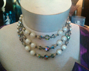 1950s  Three Strand Beaded Glamour Necklace