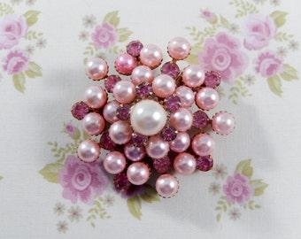 Vintage Pink Rhinestones and Pink Faux Pearls Brooch Pin