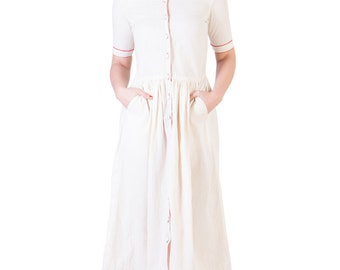 Muslin Gathered Dress With Red Details(Ans-1281)