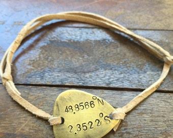 "Latitude Longitude Coordinates - Antique Distressed Brass Guitar Pick Hand Stamped Bracelet Natural Beige Leather Cord Adjustable 6"""