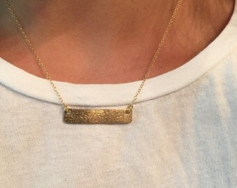 """Secret Message Lace Textured Name Bar Necklace Layering Personalized Jewelry Distressed Antiqued Finish Adjustable Sizes 14-24"""" Popular Gift"""
