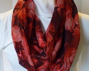 Infinity scarf, red and black floral, woman's scarf, Free Shipping