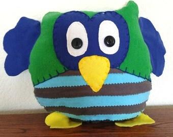 Striped Owl Plushie: Green, Blue & Grey