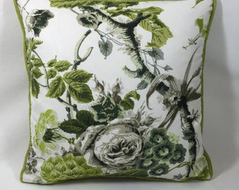 """Schumacher-Fabric Elizabeth Cushion Cover - Acid Green/Griege Beautiful Contrast  Piped 16""""x 16""""  Cushion Cover/Pillow"""