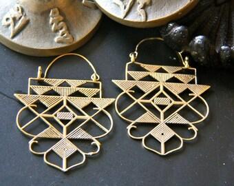 Geometric ethnic brass earrings
