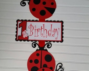 Red Black Ladybug Girl Party Sign, Ladybug Birthday Door Sign, ladybug Baby Shower, red ladybug Birthday, ladybug  Party,  red black ladybug