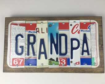 License Plate Sign-- Grandpa Gift- Grandpa Sign-- Grandpa's Birthday- Grandpa Birthday Gift- Car Sign - Vintage License Plates- Garage Sign