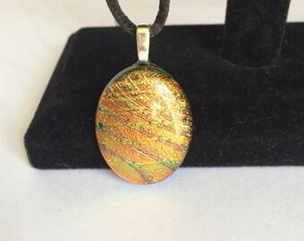 Orange Oval Dichroic Fused Glass Pendant