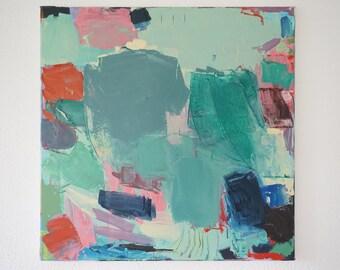 Original absteact art large oil painting, original abstract art, modern art, red, green,