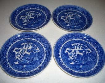 Four Vintage Blue Willow Saucers...Made in Japan...Wreath Mark