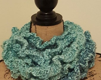 Crochet Ruffle scarf, long scarf, chunky scarf, handmade scarf, crochet scarf, gift for her, gift for you, warm and soft, gifts