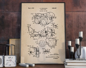 Welding Goggles Patent Print, Welding Patent, Engineering Blueprint, Poster Workshop, Wall Art, Patent Prints - DA0184