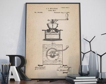 Coffee Mill Patent Poster, Coffee Mill Poster, Coffee Patent, Cafe Decor, Coffee Poster, Kitchen Decor - DA0302