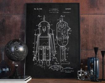 Deep Sea Diving Suit Patent, Diving Patent Poster, Diver Wall Decor, Nautical Print - DA0313