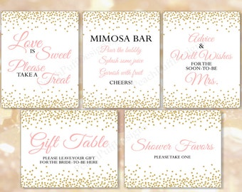 Bridal Shower signage Set of 5 (INSTANT DOWNLOAD) - Bridal shower sign - Bridal shower printable - Printable signs BR001