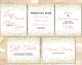 Bridal Shower signage Set of 5 (INSTANT DOWNLOAD) - Bridal shower sign - Bridal shower printable - Printable signs BR001