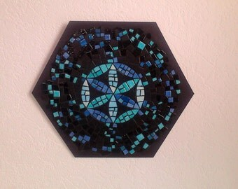 """BLUE MAGIC"" mosaic table / Mosaic frame - 22.5 cm x 25.5 cm"