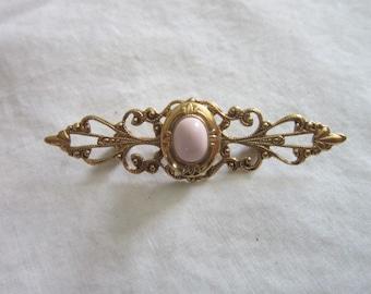 Vintage Victorian Style Filigree & Pink Cabochon Photo Locket Brooch