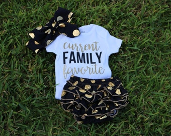 Current Family Favorite Onesie, baby Shower Gift, Coming Home Outfit, Baby Girl Onesie, Funny Onesie, Baby Girl, Girl Onesie