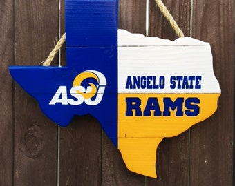 Rustic Wooden Angelo State University Texas Shaped Flag Door/Wall Hanging
