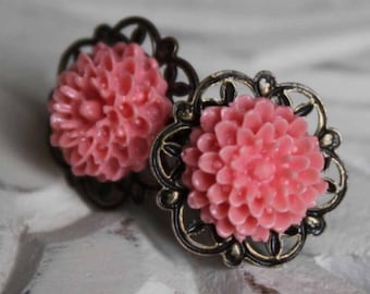 Coral Stud Dahlia Earrings