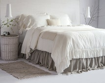 Luxury French Vintage Ruffled Linen Duvet Cover & Set 100% European Flax Stone Washed Super Soft Natural Organic King Queen Full PROMO SALE!