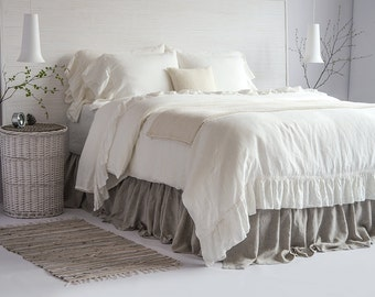100% Linen Luxury French Vintage Ruffled Duvet Cover & Set European Flax Stone Washed Super Soft Natural Organic King Queen HOT SALES!