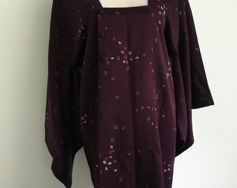 NOS Vintage Kimono Robe/Jacket Purple Stunning Beauty! Silk 100%