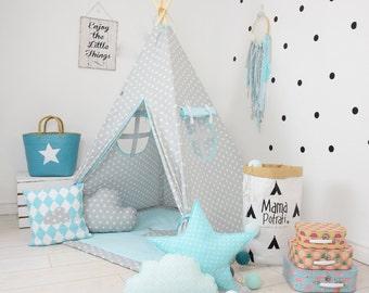Childrens teepee, playtent, tipi, zelt, wigwam, kids teepee, tent, play teepee, wigwam with mat, lamp, glow READING SPOT with light