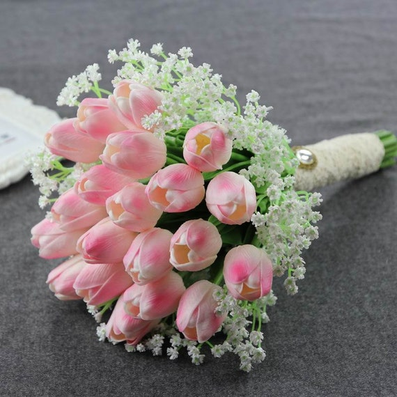 tulips wedding bouquet simple noble bridal bouquet pink tulips ivory gypsophila 8096
