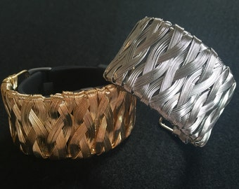 """Fitbit Flex Charge HR Bracelet Cover - Cuff """"Wired Weave"""" 2 Color Choices - Silver or Gold - TrackerStackers Surge Jawbone Up2 Up3 Up4 Up24"""