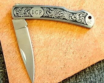 pocket knife, folding knife, hand engraved